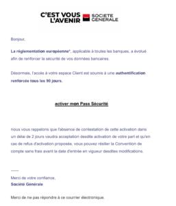 Faux mail Société Générale